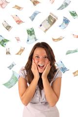 Money rain (euro banknotes)