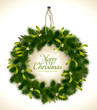 natural christmas wreath with fir and mistletoe
