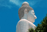 Biggest  white holy Buddha head  in the world on Phuket poster