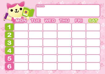 猫の時間割表ピンク