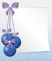 greeting card with white sheet of paper and blue christmas balls