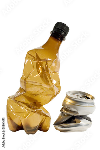 Crumpled plastic bottle and can (isolated on white)
