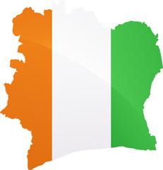Carte de la Côte d'Ivoire drapeau métal (détouré)