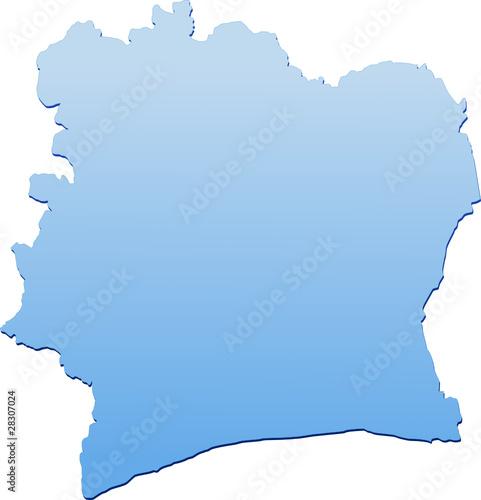 Carte de la Côte d'Ivoire bleu (détouré)