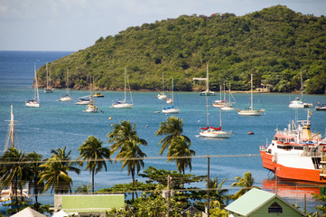 panoramic view Port Elizabeth harbor Bequia St. Vincent and the