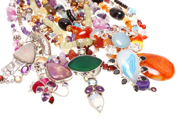 Assorted jewelry consisting of semiprecious stones