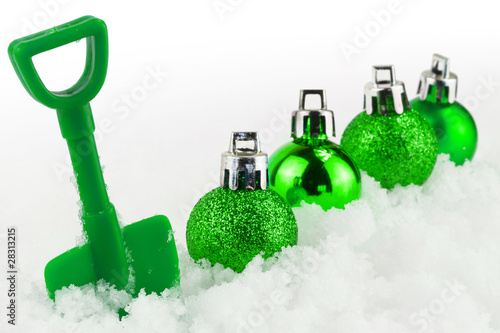 Christmas present isolated on white snow
