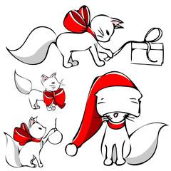 cute christmas cat vector
