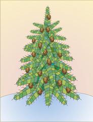 Fluffy ornamental fir-tree with cones