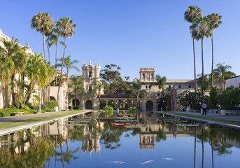 Balboa Park, buildings reflections, San Diego