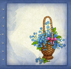 Old greeting card with basket of flowers