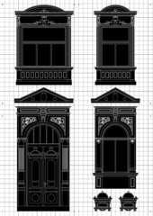 Vintage house architectural elements plans vector