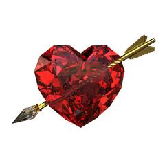 Diamond heart and arrow