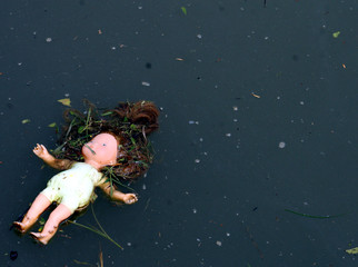 doll dropped into a pond