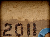 coffee with granules and new year 2011 poster