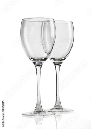 two wine glasses isolated on white background