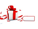Present with red ribbon and empty card isolated on white