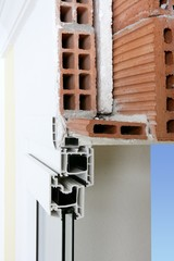 facade wall cross section of pvc window