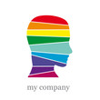 Logo man in the rainbow. Mummy # vector