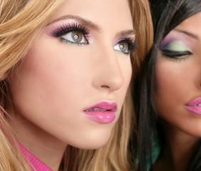 barbie doll makeup macro blonde and brunette