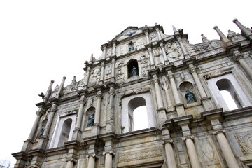 The Ruins of St. Paul's, Macau. Isolated on white.