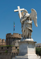 Statue of angel with Castel Sant Angelo, Rome
