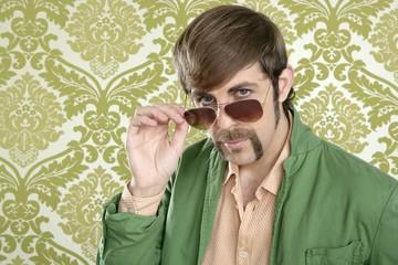geek retro salesperson man funny mustache