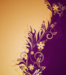 Decorative golden  background with flowers