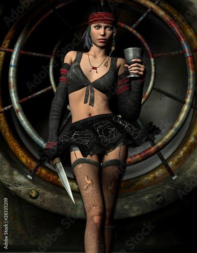 Gothic Girl mit Kelch und Dolch