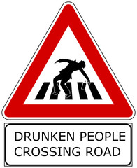 Drunken people crossing road