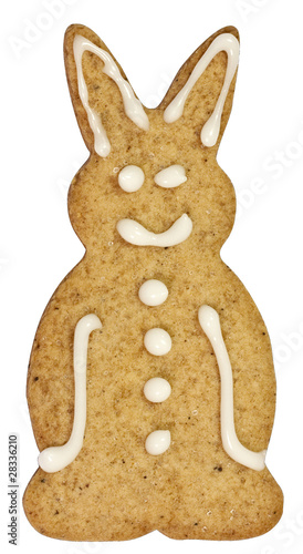 Bunny gingerbread cookie isolated on white with clipping path