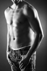 Männer Body in Schwarz Weiss, hoch