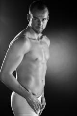 Männer Body in Unterwäsche, Schwarz Weiss, hoch