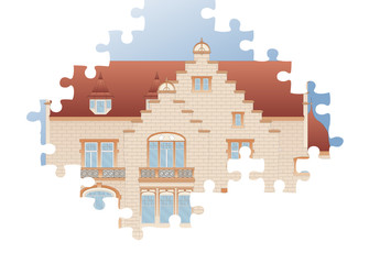 Vintage house architectural plan vector puzzle background