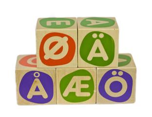 Alphabet blocks with Scandinavian and German vowels