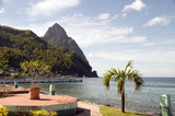 waterfront park soufriere st. lucia with view of famous twin pit