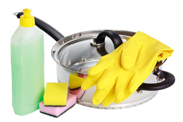 Stewing pan, rubber gloves, cleaning fluid and sponges