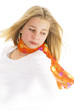 young teen girl wearing scarf
