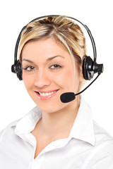 Portrait of a young female customer service operator wearing a h