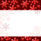 Big red three-dimentional snowflakes on dark background
