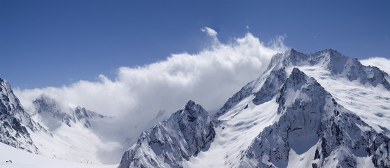 Panorama Caucasus Mountains. Ski resort Dombay.