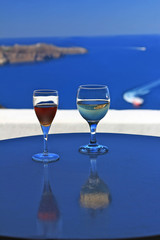Wine Glasses - Santorini background