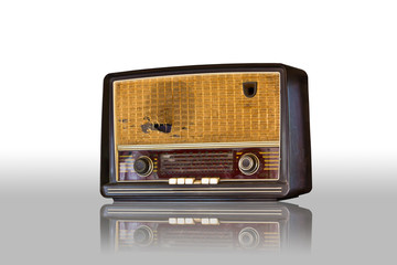 old vintage radio isolated on white background