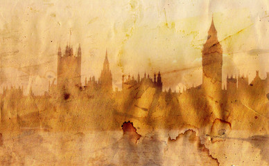 London skyline in artistic style