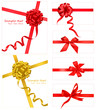 Collection of gift red and gold bows. Vector.