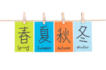 Chinese words of spring, summer, autumn and winter