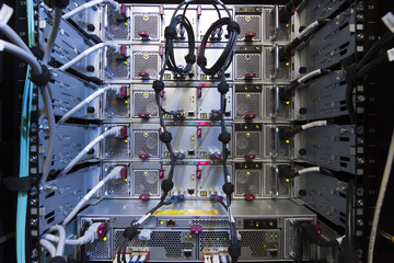 Rack of computer, rear view