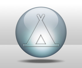 """Hovering Sphere Button """"Camping Symbol"""""""