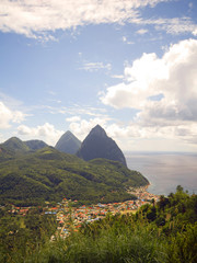 panorama twin Pitons Soufriere St. Lucia