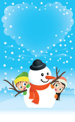 Snowman Couple With Kids